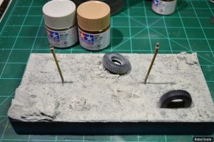 "Then I began spraying various desert tones. I wanted a ""whiter"" desert than my AT-TE diorama."